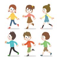 走る子供たちのイラストセット