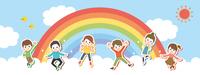 雲の上で元気にジャンプする子供たち