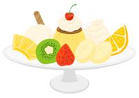 フルーツやアイスののったプリンアラモード