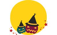 ハロウィンのイラスト:満月と帽子をかぶった