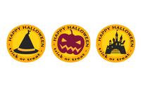 ハロウィンのアイコン、帽子とカボチャとお城
