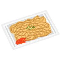 屋台の食べ物 紅生姜と青のりののった焼きそ