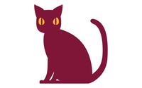 シンプルな黒猫が座っているイラストベクター