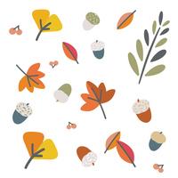 秋の葉っぱとどんぐりのイラスト