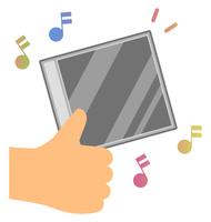 音楽CDケースを手に持つ