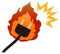 燃えるコンセントプラグ