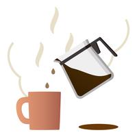 コーヒーサーバーからマグカップにコーヒーを注ぐ