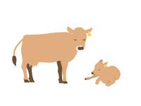 牛の親子のイラスト  ジャージー種