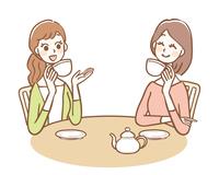 カフェでお茶をする女性たち