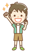 ガッツポーズをする男の子