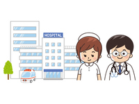 総合病院と医師と看護師