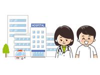 総合病院と女医と看護士
