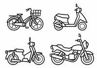 バイク(オートバイ)と自転車のアイコンセット(線画のみ)