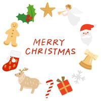 クリスマスアイテムの円形フレーム