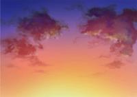水彩風 空の背景イラスト