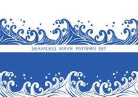 シームレスな波の和柄セット