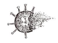 消滅するウイルス 手描き ペン画イラスト