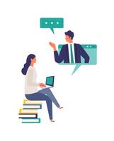 テレビ会議、オンラインレッスンを受ける女性