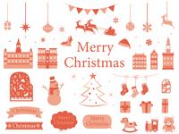 クリスマス オシャレなラスト素材集 レッド