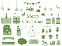 クリスマス オシャレなラスト素材集 グリーン