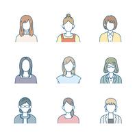 シンプルな女性のイラスト セット バストアップ アイコン