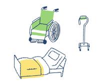 介護用品 車いすと介護用ベッドと歩行器