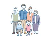 三世代家族 家族の集まり 全身