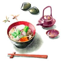 アナログ水彩関東風雑煮とお屠蘇