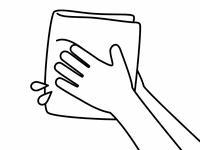 手を拭く-白黒