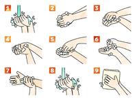 手洗いの手順・方法-水彩