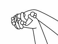 手洗い-指の間-白黒
