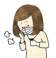 咳をする体調不良の女性-水彩