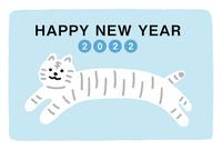 寅年の年賀状 かわいい白い虎 横長