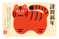 寅年の年賀状 赤い虎の置物