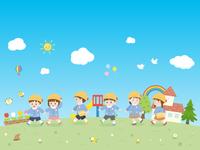 園児と青空の風景 散歩