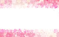 春の背景素材、桜のフレーム背景、上下