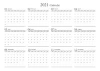 2021年 シンプルなカレンダー 12カ月 ベクター