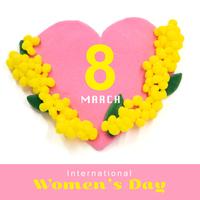 国際女性デー ハート型のミモザの花のリース