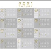 ※祝日改正版 2021年 モノトーンとゴールドのオシャレなカレンダー