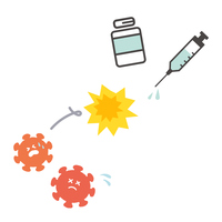 ワクチンがウイルスに勝つイメージイラスト