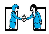 スマートフォン越しに握手する女性