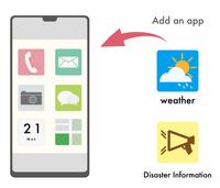 防災・天気アプリのDLを勧めるイラスト
