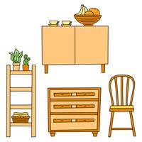 ナチュラルインテリアの木製家具のセット