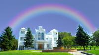 羊ヶ丘展望台に架かる七色の虹