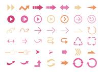 ピンク オレンジ 矢印 ベクター素材