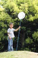 昆虫採集をする小学生(1年生)