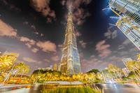 ブルジュハリファとドバイの夜景(アラブ首長国連邦)