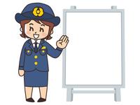 警察官の女性とホワイトボード
