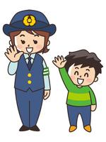 笑顔で手を振る婦警さんと男の子 交通安全