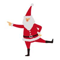 サンタクロースのイラスト 片足を上げて横を
